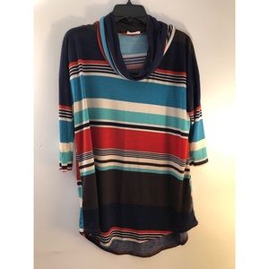 Fantastic Fawn Striped Cowlneck Top